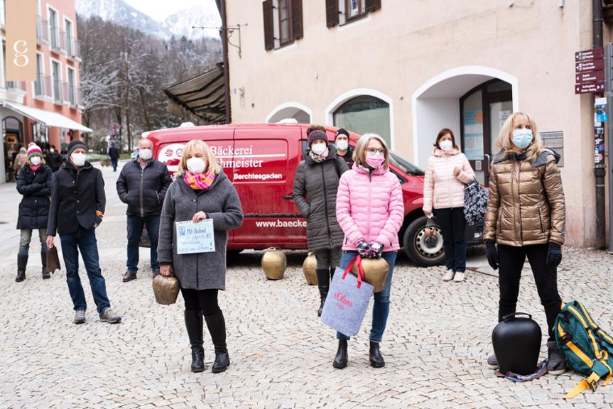 Lauter Protest am 6. April 2021 in Berchtesgaden.
