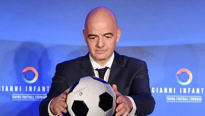 Gianni Infantino stellt in London sein Programm vor. Foto: Andy Rain
