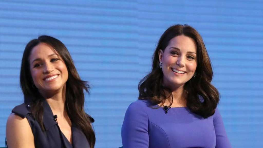 "Meghan Markle (l) und Herzogin Kate beim Forum der Stiftung ""Royal Foundation"". Foto: Chris Jackson"