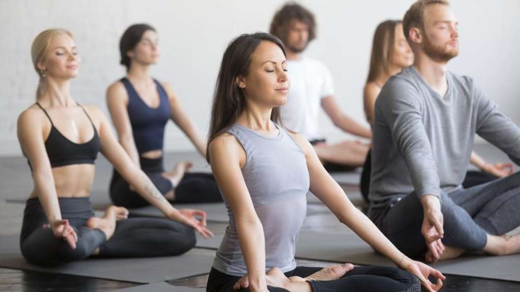 Group of young sporty people in Padmasana pose