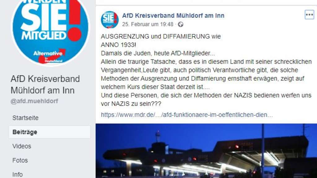 Screenshot des Facebook-Posts des AfD-Kreisverbands Mühldorf am Inn